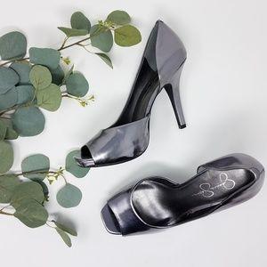JESSICA SIMPSON Silver Metallic Cutout Heels 9B